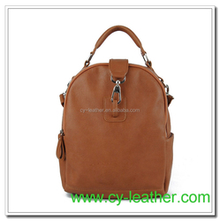 Multi function genuine leather bag with dog leash