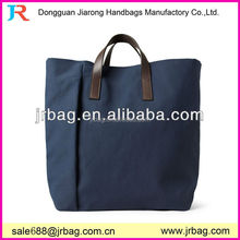 Hot-sale low price OEM cotton canvas shopping tote bag with leather handle and zipper