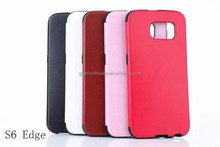 2015 NEW Fashion Ultra Thin Luxury Leather Back Soft TPU Bumper Case For Galaxy S6 edge