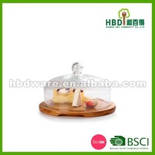 Cheap glass cheese dome with bamboo board