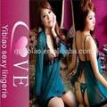 moda 2015 azul de dos piezas de ropa interior sexy ropa abierto las niñas camisón