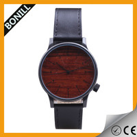 2015 custom leather band wood watch simple face for men and women wholesale classic leather watch