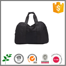 Black nylon foldable travel overnight bag