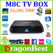 2015 Best selling 2.4Ghz/5Ghz wifi XBMC ott amlogic s802 m8c firmware android tv box 5.0MP Camera for skype