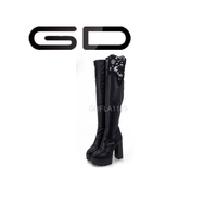 pretty women hollow printing high heel warm over the knee boots for ladies