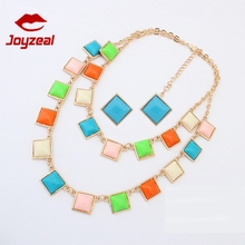 Zinc Alloy Chains Square Necklace Set,simple style earring jewelry stes