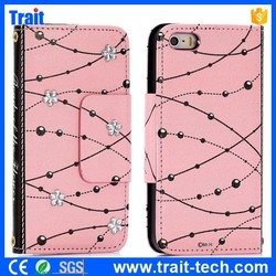 Beads and Rhinestone Flower pattern Wallet Flip Leather Case for iPhone 5