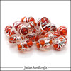 10*14mm lampwork glass silver foil oval beads wholesale for jewelry making