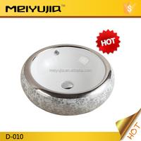 silver color hotel use ceramic wash hand art basin
