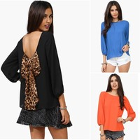 Walson Cut Out Back Evening Top T-Shirts Vests Blouse With Leopard Bow Tie Girls Hot Sexy Backless Blouse 001392 clothing manufa