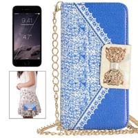 Grace Lovely Design with Lady Style Lace Pattern Butterfly Flip Leather Case For Galaxy S6 Edge G9250 Bow Magnetic Leather Cover