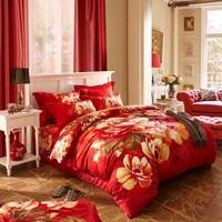 China fabrics red flower design large version of printed wholesale cotton luxury bedding set fabric