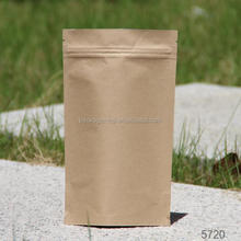 Recyclable kraft paper package bags with zipper