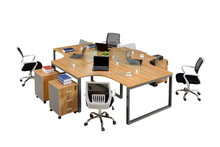 Modern design wooden top four people office workstation