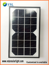 factory direct small size monocrystalline 3w 6V glass solar panels
