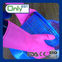 China factory useful pink color pvc household gloves water resistant