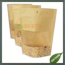 Resealable Eco friendly recycled kraft paper bag with window for food packaging