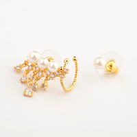 Stud Earrings Earrings Type and Women's Gender ear cuff with frewater pearl and CZ diamond earring