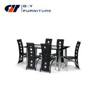 Mesa de jantar de vidro e 6 faux cadeiras de couro, Clara e vidro preto
