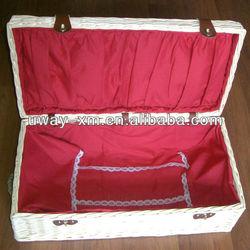 UW-PCK-104 Natural apperance red lace decoration pet casket with pillow,dog casket,cat casket