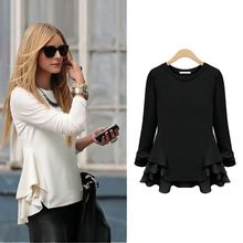Walson European Fashion Women Blouse Chiffon Patchwork Side Ruffles Irregular Hem Crew Neck Long Sleeves Casual woman wear G0691
