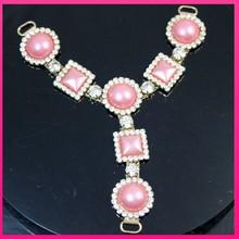 wholesale rhinestone pearl sandal upper chains colorful clip sandal accessory