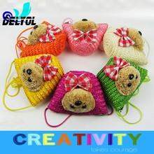adorable cute animal coin case /purse/handbag/tote beach bag/natural straw bag pu handle hottest design cheap price