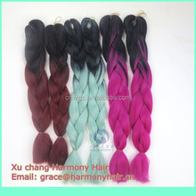 LARGE INVENTORY synthetic braiding hair ombre/ombre kanekalon jumbo braiding hair/ ombre color jumbo braids