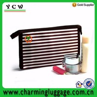 Black and white Stripe design various meterial contents cosmetic bag