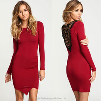 Burgundy crochet wrap jersey red bandage dress