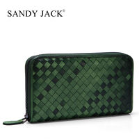 Italy brand name Sand Jack 100% handmade Weave leather Clutch Purse in Zipper Close sheep leather wallet 1 pcs Bespoke Logo