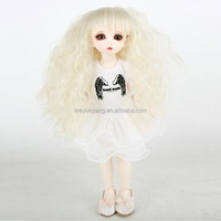 long blonde afro kinky curl doll wig with full bangs