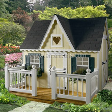Painted KD design outdoor wood kids playhouse / playsets with fences