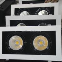 twin grille LED downlight,COB LED,2 heads, 30W x 2, rectangular, tiltable,5000K/4000K/3000K,4200 lumen, 36/60 deg, factory