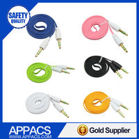 1m colorful customized flat audio cable for car apply to iphone 5 6