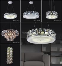 Modern Chrome Crystal light for Home with Amber and Smoky Sunglasses Lens Crystal