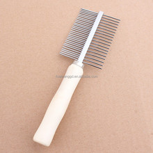 Pet products wooden handle stainless steel needle pet grooming comb