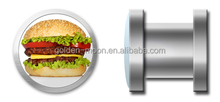 Fashion Unique Cheeseburger threaded plug tunnel jewelry for stretched ears
