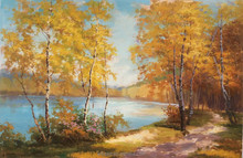 Pond in the Forest Landscape Scenery Handmade Acrylic Oil Painting on Canvas for Wall Art Decoration