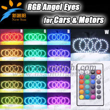 4pcs 72mm RGB RGB ANGEL EYES LED multicolor de 5050 de Halo Anillos kit remoto de coches Auto Faro Bombillas de colores cambiant