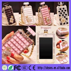 Luxury Crystal Bling Perfume Bottle Mobile Phone Case For samsung S4 With Chain