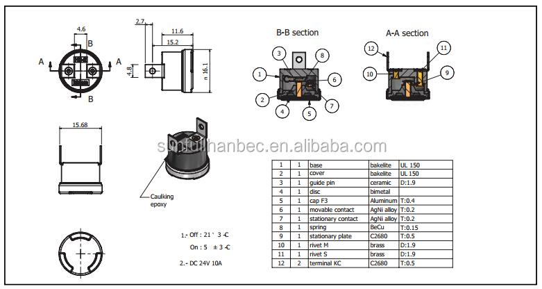 ksd bimetal fuse    thermal fuse    hb2 temperature switch