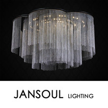 unique curtained led lighting disk shaped chandelier silver chain around