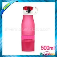 พลาสติก500mlขวดน้ำผลไม้เพื่อสุขภาพมะนาวบีบขวดที่มีโลโก้ที่กำหนดเอง
