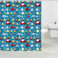 Polyester curtain fabric printed colorful car pattern cartoon shower curtain plastic shower curtain rod covers