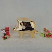 custom popular gold plated pig design porcelain ornament