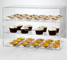 2 tiers clear acrylic display cabinet for cup cake
