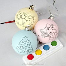 Newest Plastic Hand Painted Christmas Ornament ball for Happy New Year