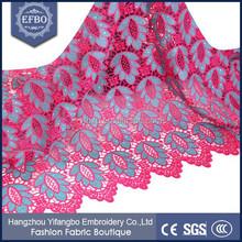 Fantastic fushia pink afrian multi coloured guipure embroidery lace fabric / Rhinstones nigeria laces for Wedding Dresses 2015