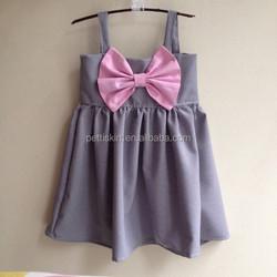 chilren girls grey and pink bow summer dress girls frock design